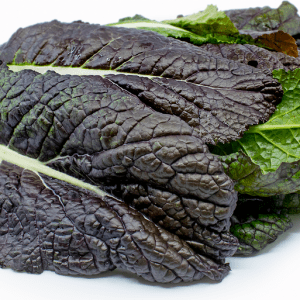 Large pile of red giant mustard greens